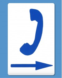 Telephone Symbol Blue, Arrow Right (self-adhesive)
