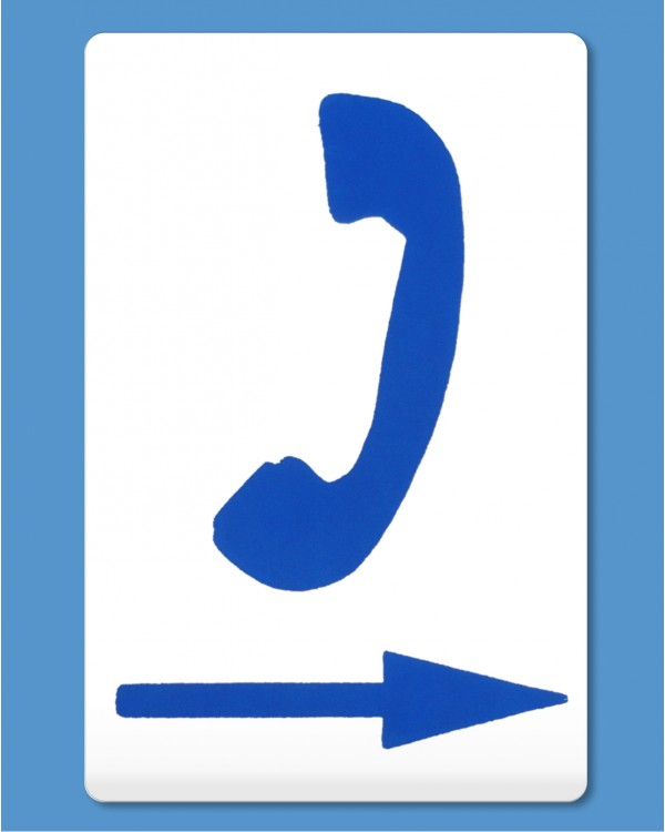 Telephone Symbol Blue Arrow Right Self Adhesive