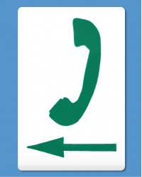 Telephone Symbol Green, Arrow Left (self-adhesive)